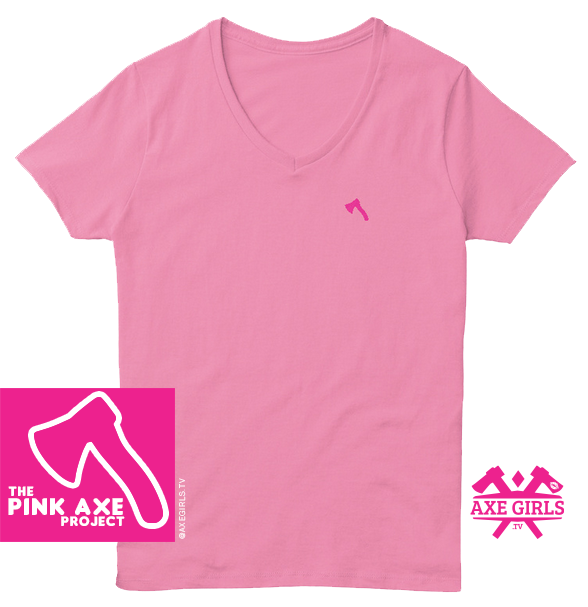 The PINK AXE Project - pink on pink vneck tee - charity